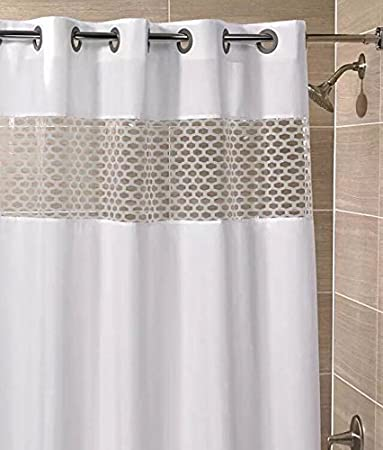 Hampton Inn Hilton Hotels Exclusive Hookless Washable Fabric Shower Curtain  With See Through Panel   VISION