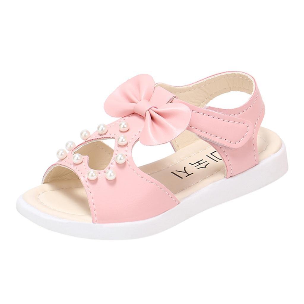85aec9058 Verano Sandalias Chicas Planas Sandalias Moda Bowknot Niñas Plana Princesa  Zapatos Calzado ¡Verano caliente! ❤ Manadlian (Rosa