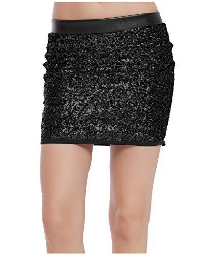 Jupes Mini de Lotus Club Paillettes Party Sequins Noir Cuir de Moulante Instyle Faux Jupe xqwFR