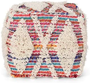 Great Deal Furniture Hebe Boho Wool and Chindi Pouf