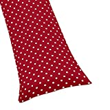 Sweet Jojo Designs Polka Dot Full Length Double Zippered Body Pillow Case Cover for Ladybug Collection