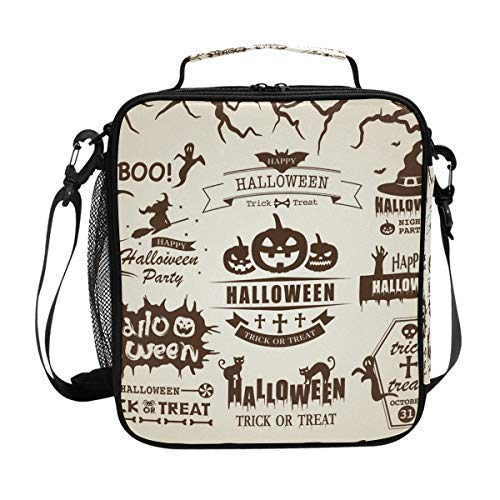 (JSTEL Lunch Bag Happy Halloween Vector Vintage Label Set Handbag lunchbox Food Container Gourmet Bento Coole Tote Cooler warm Pouch For Travel Picnic School Office)