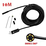 Mimgo 10M Rigid Cable Android Borescope Endoscope Camera, Waterproof HD Micro USB 8mm Inspection Camera Snake Camera with 6 LED (Black)