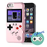 Gameboy Case for iPhone, Autbye Retro 3D Phone Case Game Console with 36 Classic Game, Color Display Shockproof Video Game Phone Case for iPhone 6P/6SP/7P/8P (Pink)