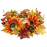 16'' Wide Sunflower, Berry, Fern & Maple Silk Flower Candle Ring Holder w/Glass -Yellow/Gold