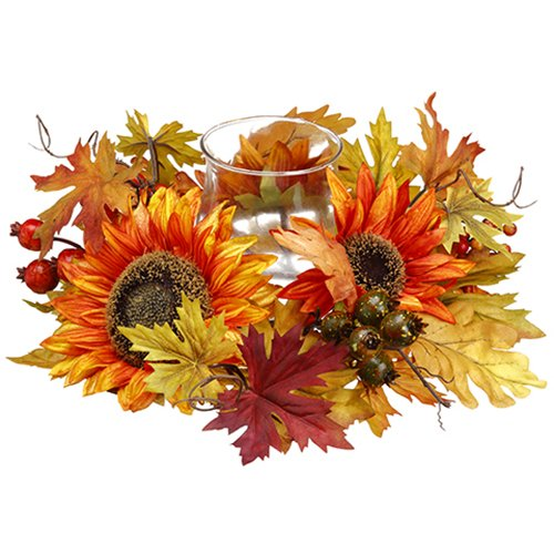 16'' Wide Sunflower, Berry, Fern & Maple Silk Flower Candle Ring Holder w/Glass -Yellow/Gold by SilksAreForever