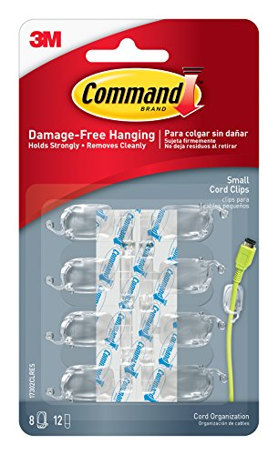 Command Wire - Command Cord Clips, Small, Clear, 8-Clips (17302CLRES)