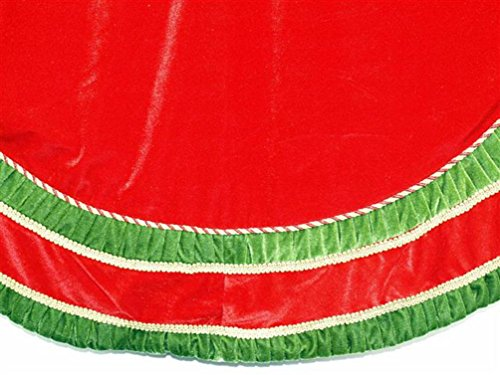 Season's Designs Red Velvet Tree Skirt, Green Pleated and Gold Trimming, 72