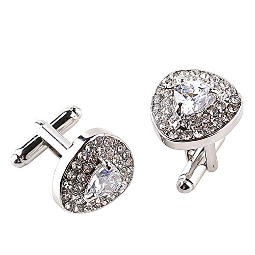 MayLove Stainless Steel Classic Heart Shaped White Crystal Rhinestone Tuxedo Shirt Cufflinks For Men Unique Business Wedding