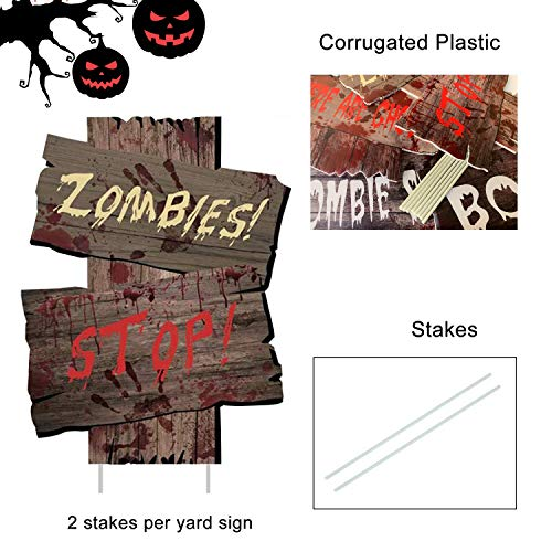 WizPower Halloween Decorations Outdoor Yard Signs Scary Beware Outside Decorations Zombie Vampire Graves Party Supplies