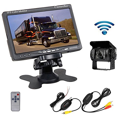 "Camecho RC 12V 24V Car Backup Camera Rear View Wireless IR Night Vision Backup Camera Waterproof Kit + 7"" TFT LCD Monitor Parking Assistance System for Truck/Van/Caravan/Trailers/Camper"