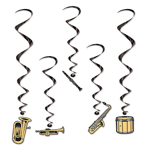 [Beistle Musical Instruments Whirls, 27 to 41 1/2-Inch, Gold/Black] (Music Party Decorations)