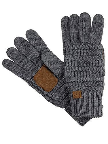 C.C Unisex Cable Knit Inner Lined Anti-Slip Touchscreen Texting Gloves, Dark Melange Gray
