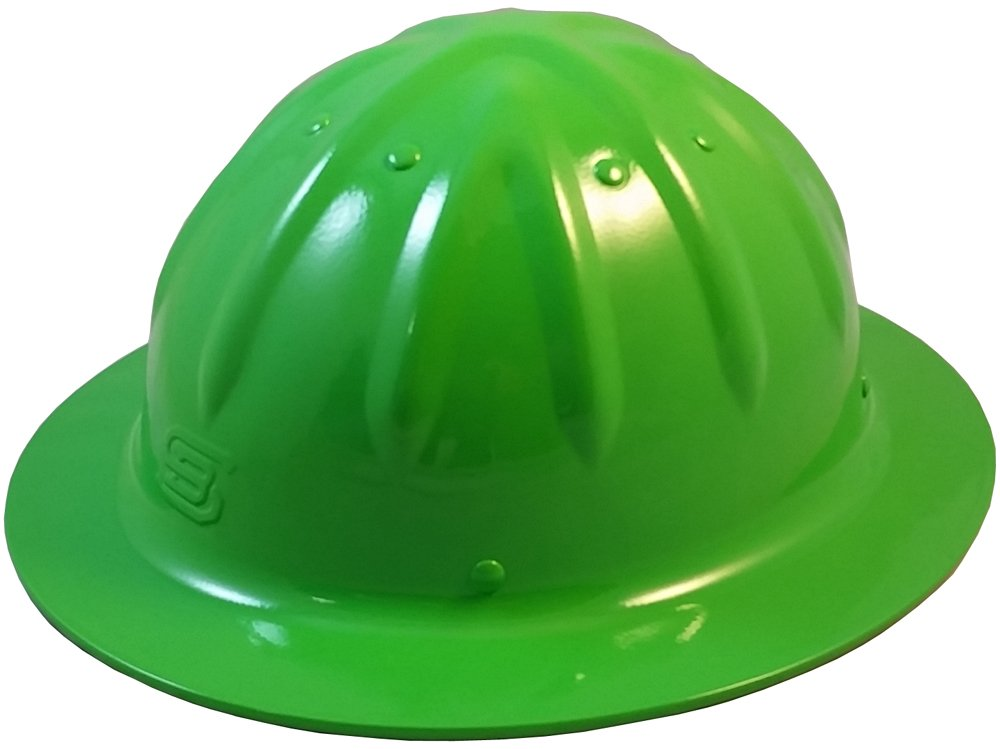 Original SkullBucket Aluminum Hard Hats, Full Brim with Ratchet Suspensions Hi Viz Green by Skull Bucket