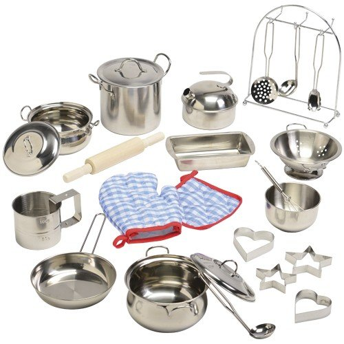 Constructive Playthings CHN-20 Kid-Sized Stainless Steel Cookware for Pretend Play, Grade: Kindergarten to 4, 14.6