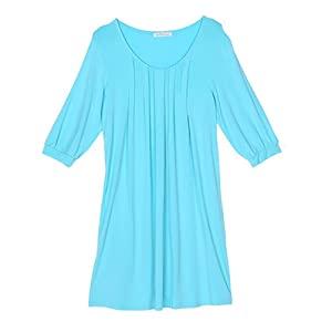 SHUGJ Ladies knit cropped sleeve modal size nightdress Nightgown , blue , xl (165/88a)