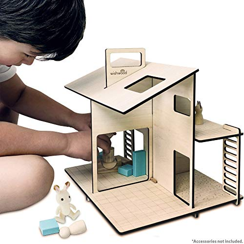 """Wooden Dollhouse - Portable Toy Doll House Modern Design for Small Dolls & Toys up to 3"""" high. Best for 3, 4, 5, 6 7 Year Old Girls & Boys, Toddler & Kids Playhouse with Reusable Felt Storage Bag."""