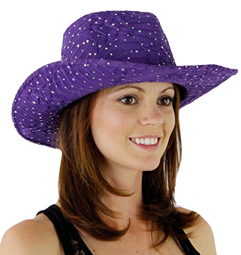 Glitter Sequin Trim Cowboy Hat Purple One Size