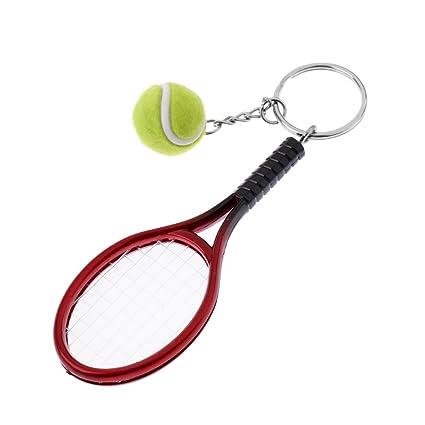 Homyl Llavero Forma de Mini Raqueta de Tenis con Bola ...