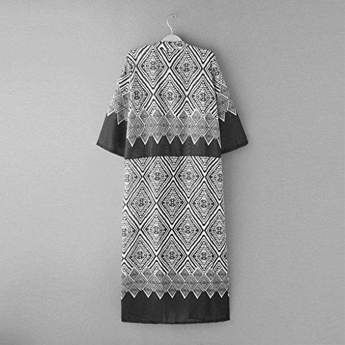 Vovotrade Las mujeres de Boho Impreso gasa Mantón largo kimono Cardigan Negro