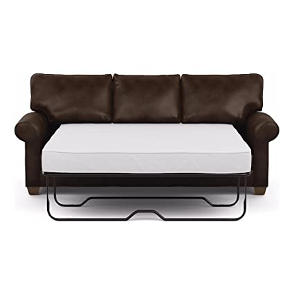 Ethan Allen Bennett Roll Arm Leather Sofa, 86u0026quot; Sleeper, Omni Brown Top
