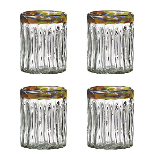 Global Amici Festival Optic Double Old Fashioned Glasses (Set of 4), 12 oz, Clear