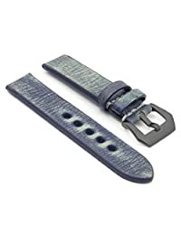 StrapsCo 20mm Blue Thick Distressed Vintage Leather Watch Band w/ Black Pre-V Buckle