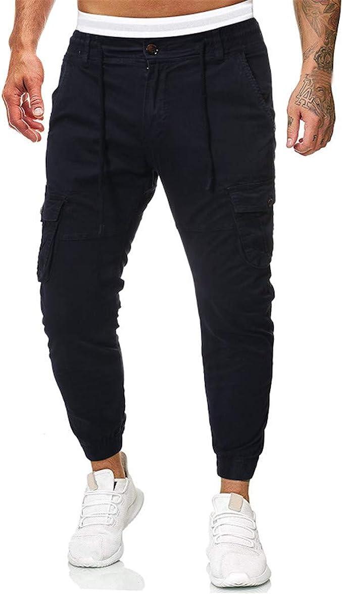 JiaMeng-ZI Pantalones Hombre Poliéster Running Pants Jogging ...