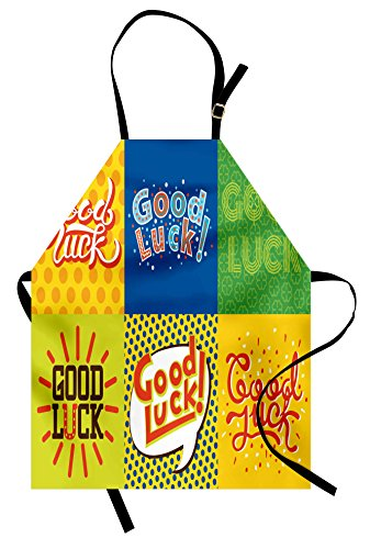 Ambesonne Going Away Party Apron, Lucky Phrase Text Farewell Comic Book Pop Artwork Retro Typography Print, Unisex Kitchen Bib Apron with Adjustable Neck for Cooking Baking Gardening, (Comic Book Pop Art Costume)