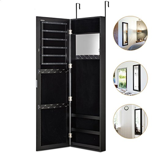 HERRON Wall Jewelry Cabinet Armoire with Mirror, Door or Wall Mounted Jewelry Box to Store Jewelry for Women,Black