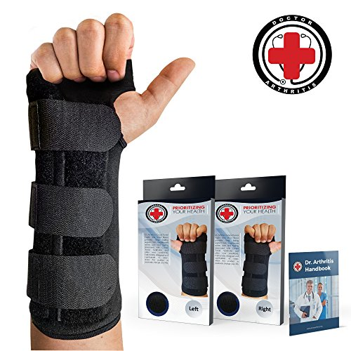 Doctor Developed Carpal Tunnel Wrist Brace Night & Wrist Support & Sleep Brace [Single] (with Splint) & Doctor Written Handbook - Fully Adjustable to Fit Any Hand ()