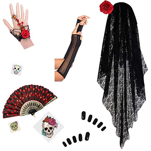 Day of the Dead Halloween Costume Dia de los Muertos (Basic Accessory Kit #1 Only (No Dress)) -