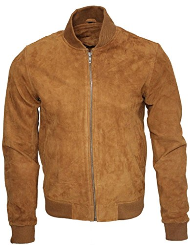 Mens Retro Tan Goat Suede Leather Bomber Varsity Jacket L (Leather Jacket Suede Varsity)