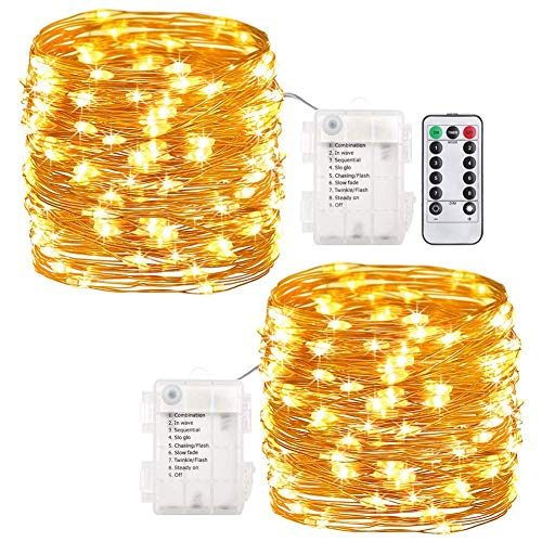 WSgift 2 Pack Fairy Lights Fairy String Lights Battery Operated Waterproof 8 Modes 60 LED 20 feet String Lights Copper Wire Firefly Lights Remote Control Warm White