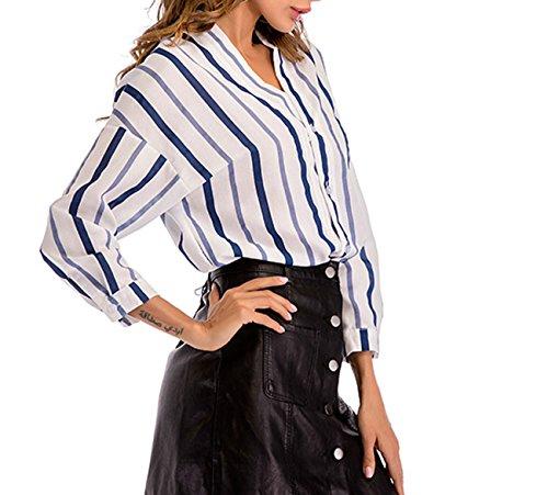 Primavera Manica Blu Maglie Giovane Donne Bluse Casual Bottoni V Fashion a Irregolare Maglietta Righe a Top Scollo Camicie Moda Simple con Lunga awvx5n6