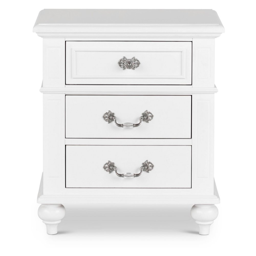 Picket House Furnishings Annie Nightstand Transitional/White/Solid Rubber Wood