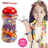 "Picowe 430 PCS Snap Beads Set, Kids' Jewelry Making Kits for Necklace and Bracelet for Girls Art Crafts Gift Toys 9.05"" × 3.94 """