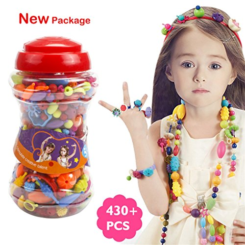 430 PCS Snap Beads Set - Picowe Kids' Jewelry Making Kits for Necklace and Bracelet for Girls Art Crafts Gift Toys 9.05