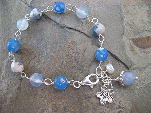 Blue Agate Artisan Gem - Blue Lace Agate Gemstone Sterling Silver Bracelet Cultured Pearl Flower Boho Artisan Jewelry