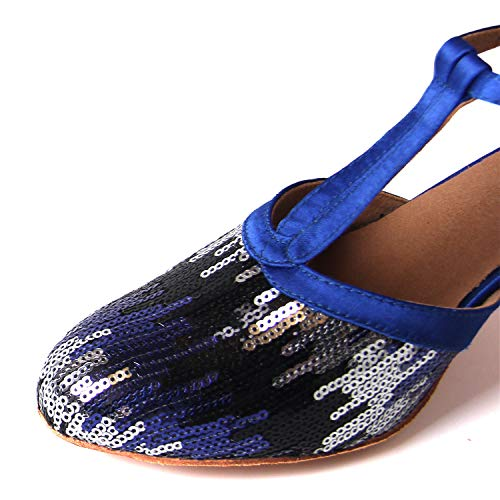 Latine Party Bout Danse Jazz Synthétique Salsa Sequin Chaussures Ballroom Mariage Sukutu Fermé Femmes Pour De qntBC8EWPO