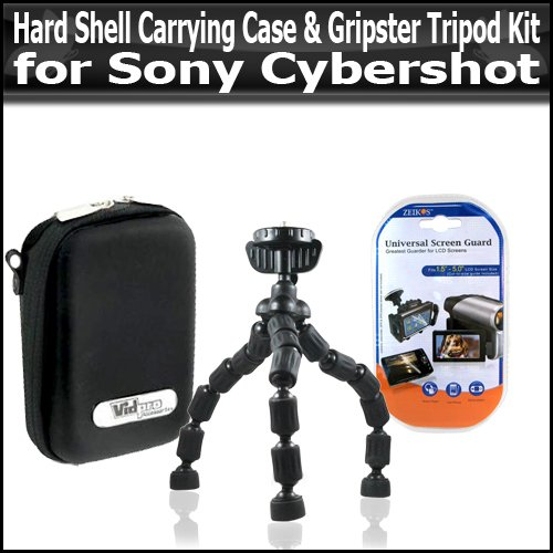 Hard Shell Carrying Case & Gripster Flexible Tripod Kit For Sony Cybershot DSC-TX1 G3 T90 T900 W220 W230 W290 WX1 DSC-S750 780 S950 W190 W180 Digital Camera Includes Free Pack Of LCD Screen Protectors