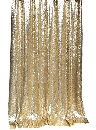 Langxun 4.3ft X 8.5ft Gold Shimmer Sequin Fabric Photo Booth Backdrop Sequin Curtain | Shimmer Sequin Tablecloth ( GOLD )