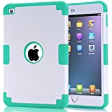 iPad mini 4 Case, iPad mini 4 Retina Case, Easytop Anti-slip Shock-absorption Silicone Inner Bumper High Impact Resistant Hybrid Three Layer Protective Cover Case for iPad mini 4 (White + Turquoise)