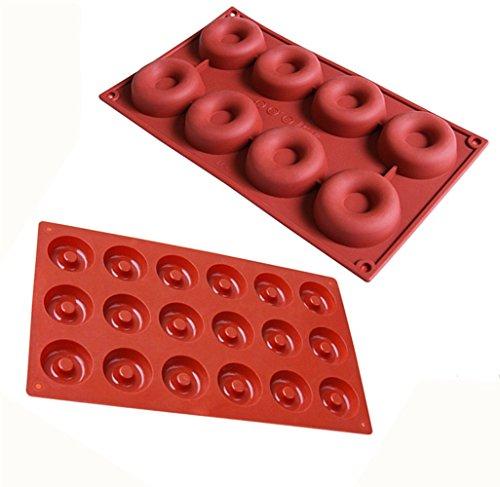 MAXGOODS 2-SIZE Silicone Mini Donut Pan,8/18-Cavity