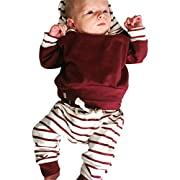 Littleice Newborn Infant Baby Boy Clothes Set Striped Hoodie Tops+Pants Outfits (3M)