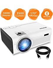 BIGASUO Vidéoprojecteur 3500 Lumens Portable LED Mini Projecteur Bluetooth, Soutien Charge Le Format Plein HD 1080P iPhone Andriod Jeu TV multimédia Home Theater Entertainment