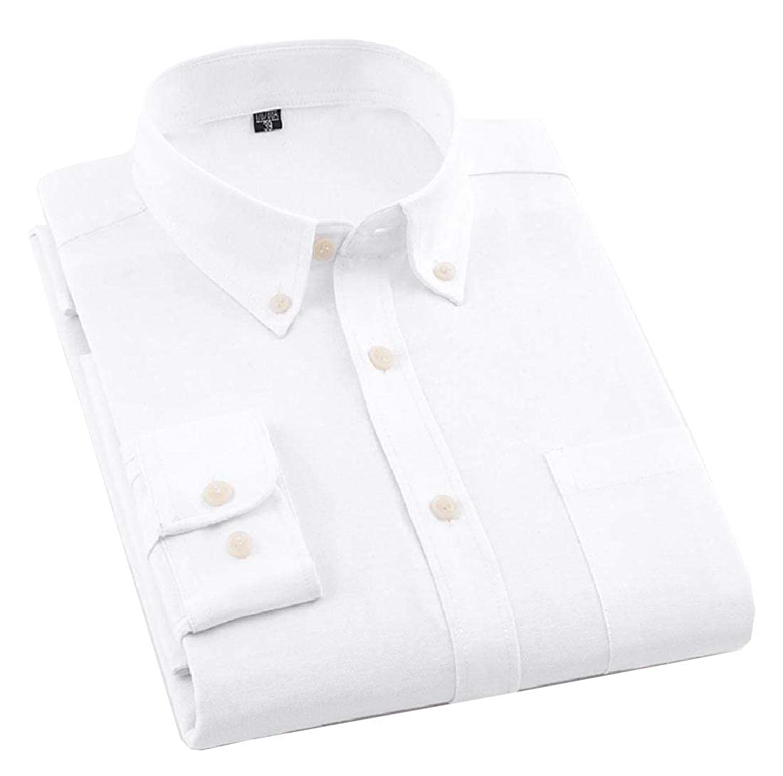 Abetteric Mens Plus Size Oxford Chest Pockets Button Skinny Shirt Blouse Tops