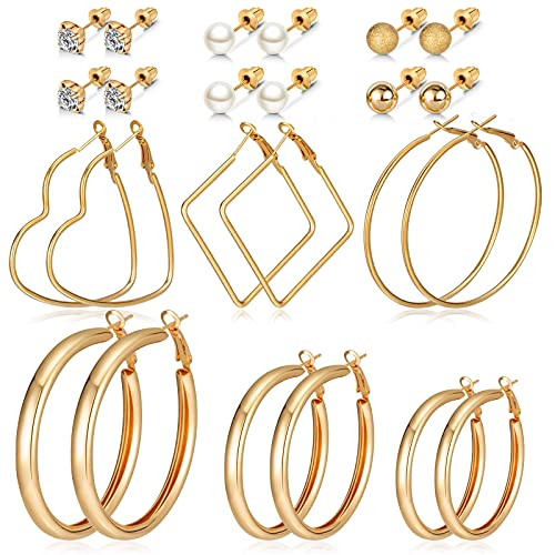 CHANBO 12 Pairs Fashion Hoop Earrings Set for Women Girls Gold Acrylic Drop Dangle Earrings Pack Jewelry for Birthday/Party/Christmas/Friendship Gifts