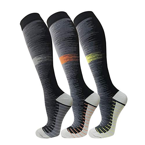 Copper Compression Socks For Men & Women(3 Pairs)- Best For Running,Athletic,Medical,Pregnancy and Travel -15-20mmHg (S/M, Multicoloured ()