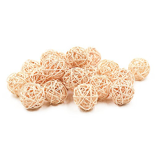 Zhi Jin 20Pcs Natural Wicker Rattan Balls Desk Wedding Party Hanging Bird Toy Ball Christmas Decorative 5CM Wood (Decorative Rattan Balls)